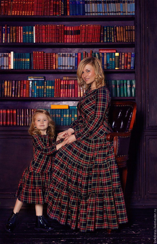 fe126c901416 Купить Платья для мамы и дочки из шотландки McFarlane - комбинированный, в  клеточку, шотландская клетка, фемели лук