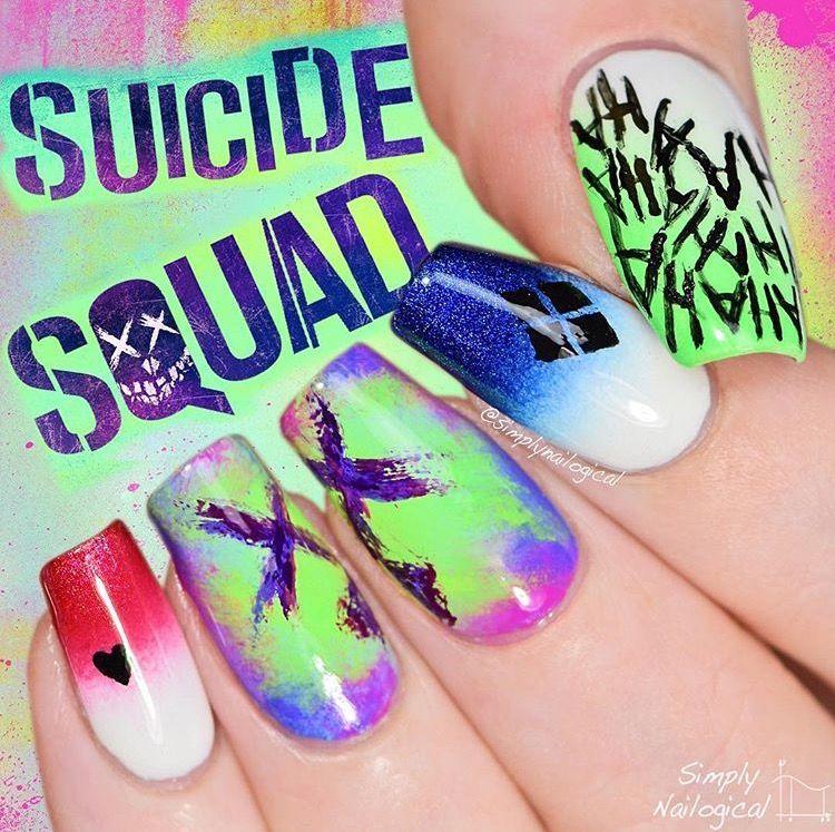 Suicide squad nails | Makayla\'s bored | Pinterest | Diseños de uñas ...