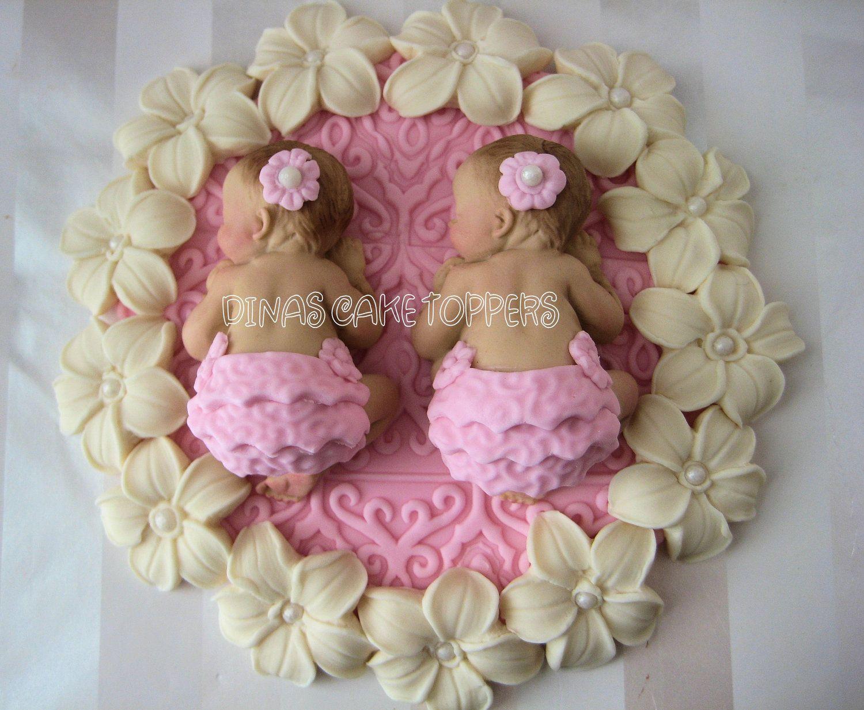 twin shower cake ideas | Twin girls pink baby Shower First ...