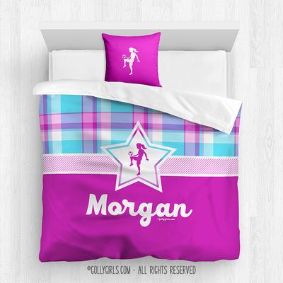 Bubblegum Plaid Soccer Personalized Comforter Or Set Sports Room