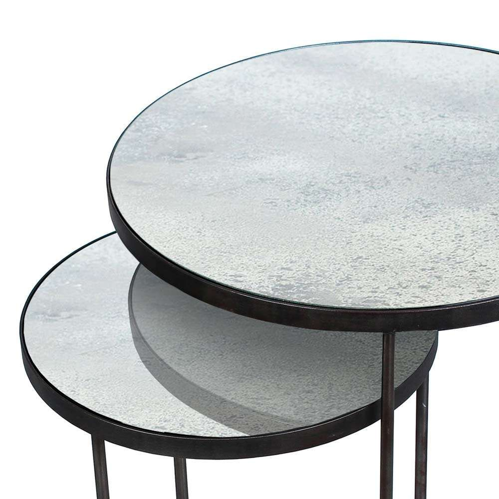 Notre Monde Beistelltische Rund Glossy Metall Glas 2er Set Schwarz Grau Beistelltische Beistelltisch Rund Tisch