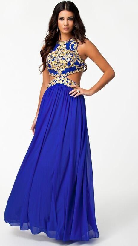 Blue Gold Prom Dress
