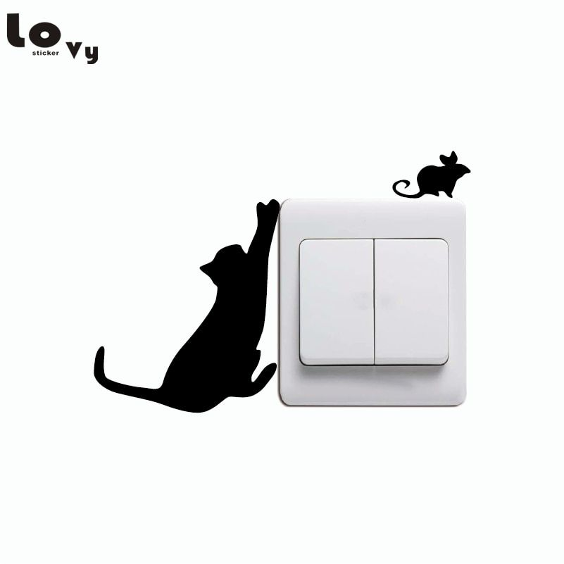 Cat and mouse light switch decal bedroom home decor