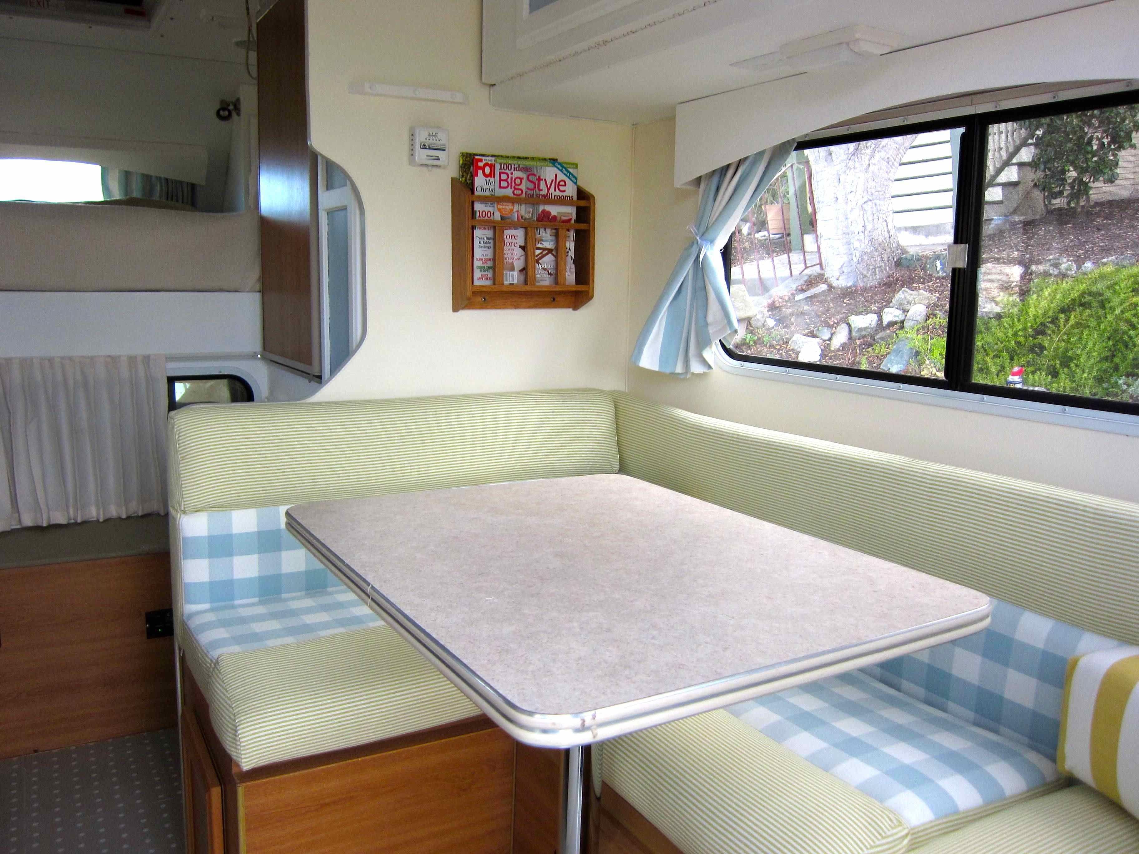 #vintagecaravan #campervan #camping #silverashcampers   Lounge / dinette area of the new Lance unit. Available for rental in lovely Monterey California http://www.silverashcampers.com/
