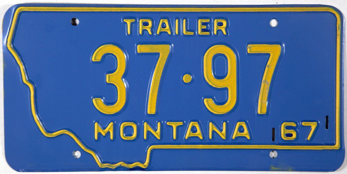 1967 Montana Trailer License Plate License plate