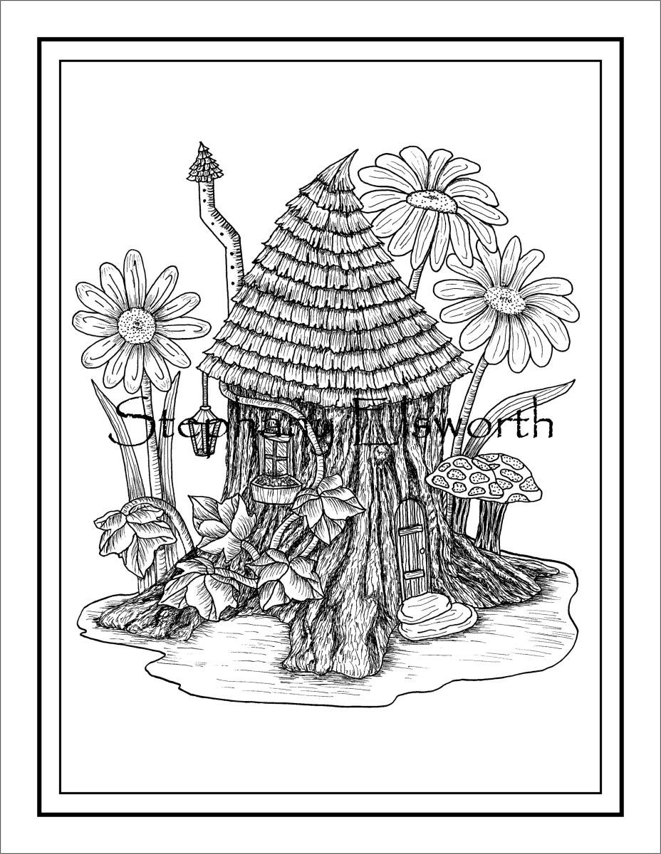 Fairy Cottages Printable Instant Download Pdf Coloring Pages Adult