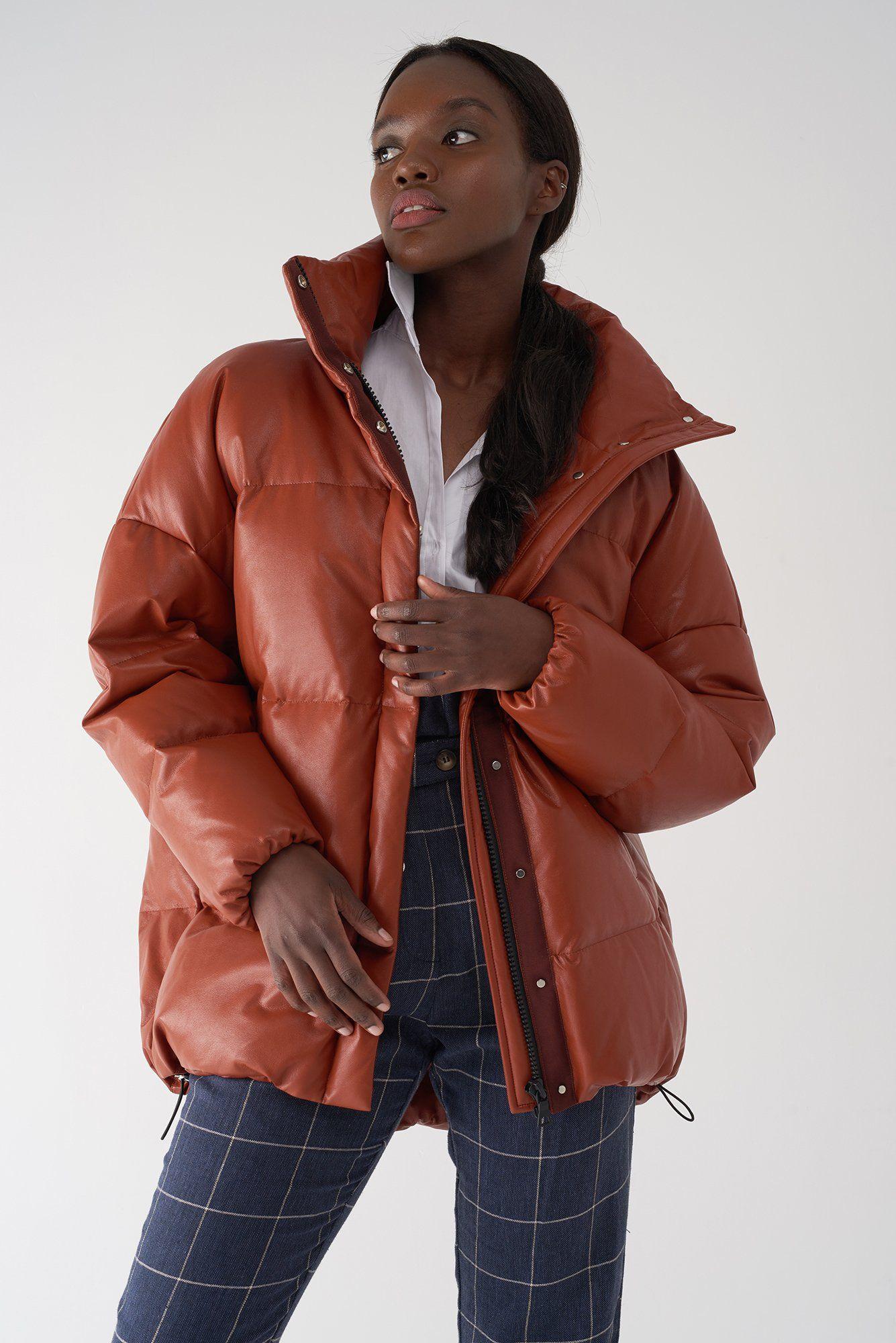 GLORY RUST Faux Leather Puffer Jacket Søsken Studios