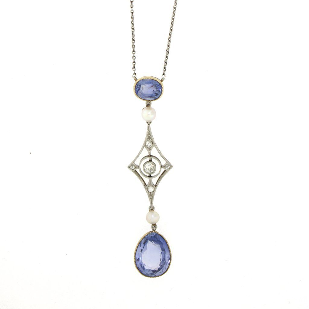 Antique Edwardian Sapphire, Diamond & Pearl Drop Pendant #edwardianperiod