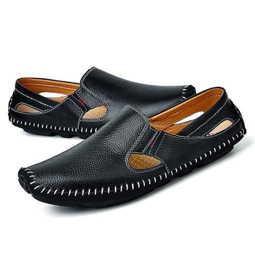 6517141da8 Men Leather Driving Shoes Plus Size 45 46 47 Casual Slip-on Summer Shoes 5  Colors Size 38-47