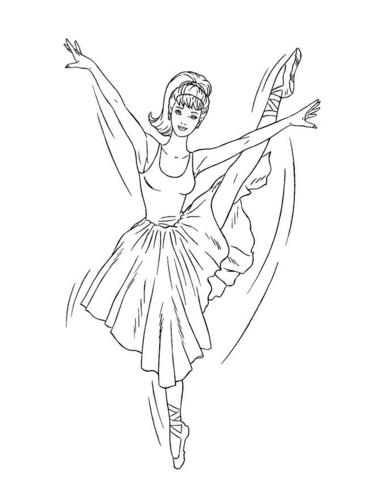 barbie ballerina coloring page printable craftsfree - Free Printable Ballerina Coloring Pages