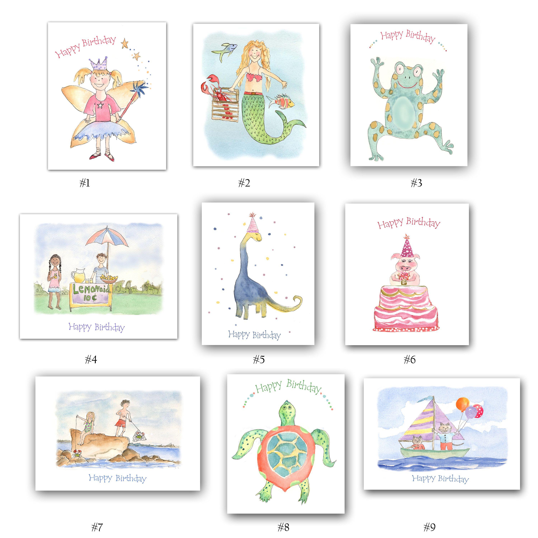 Childrens Birthday Cards Sets Kids Birthday Cards Birthday Etsy Birthday Cards First Birthday Cards Funny Birthday Cards