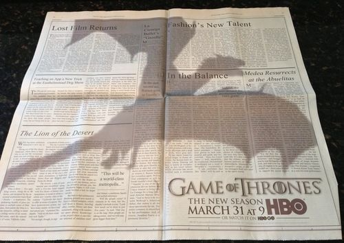 """Mind-Blowing """"Game Of Thrones"""" Ad In """"The New York Times"""""""