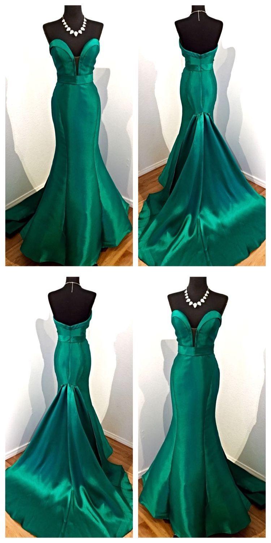 Hunter green prom dresses mermaid sweetheart sweep train long sexy