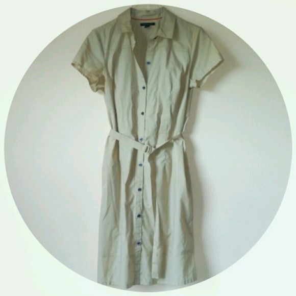 Tommy Hilfiger Condition: Lightly Preloved Details: Light Beige button down dress with belt!  Fitting for the Fall with leggings and spring with sandals or wedges!  Size: Medium Flaws: None Tommy Hilfiger Dresses