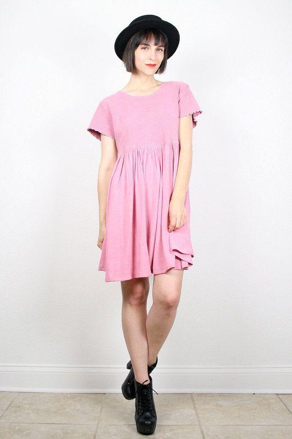 e216d60cf93 Vintage Pink Dress 90s Dress Grunge Dress by ShopTwitchVintage  vintage   etsy  90s  1990s  grunge  mini  dress  babydoll  tshirt