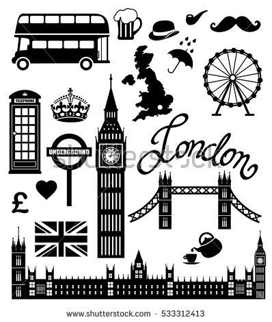 London Icon Set Collection Vector Uk Rain Tower Pipe Mustache Flag Travel Pound Culture Telephone Symbol Cup Umbrella Black United