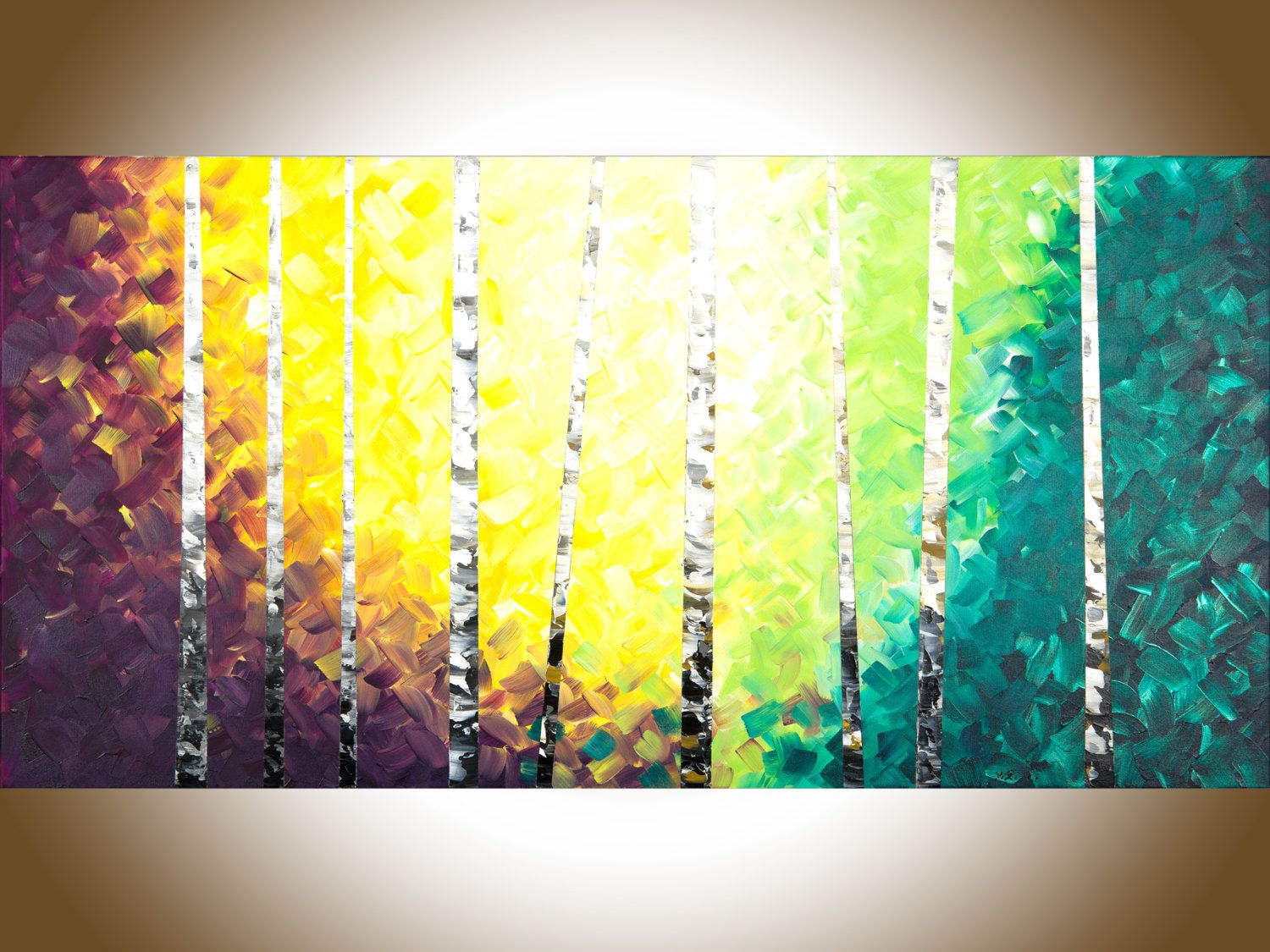 Birch tree painting Birch painting silver birch large wall art ...