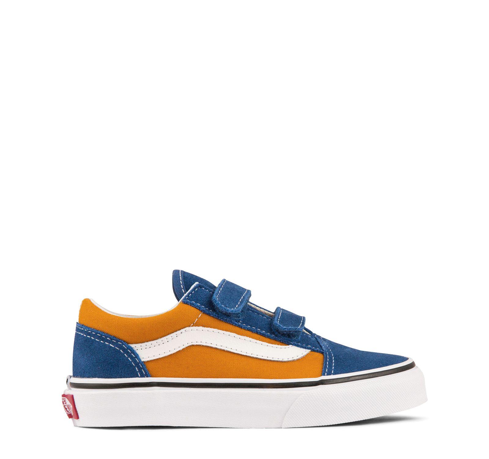 Vans Pop Old Skool V Kids OG BlueOG Gold   Kid shoes