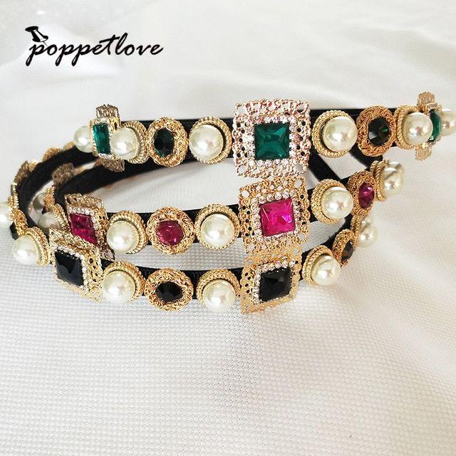 New Hairband Baroque Luxury Crystal Headband Brand Headdress Fashion Pearl  Hair Jewelry for Women Review 03d06cd5ea35