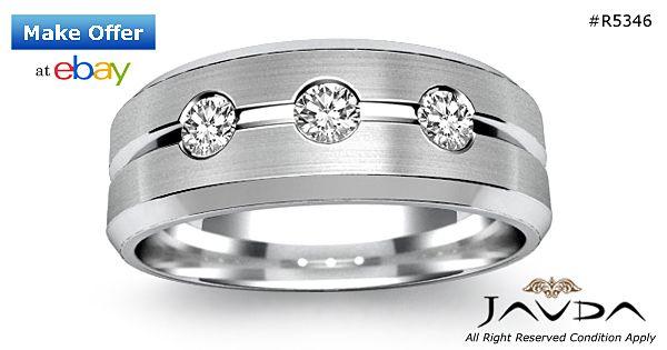 Round Cut Diamond 3 Stone Mens Half Wedding Band 8mm Ring 14k White Gold 0.30Ct
