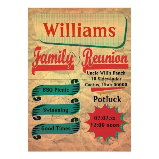 Vintage Retro Family Reunion Invitation Family Reunion Invitations