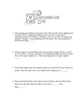 Groundhog Day Math For 4th 5th And 6th Grade Free Printable Kids