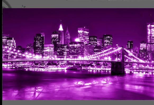 New York City Scene Purple Canvas Picture Print 34x20 Purple City Purple Canvas Print Pictures