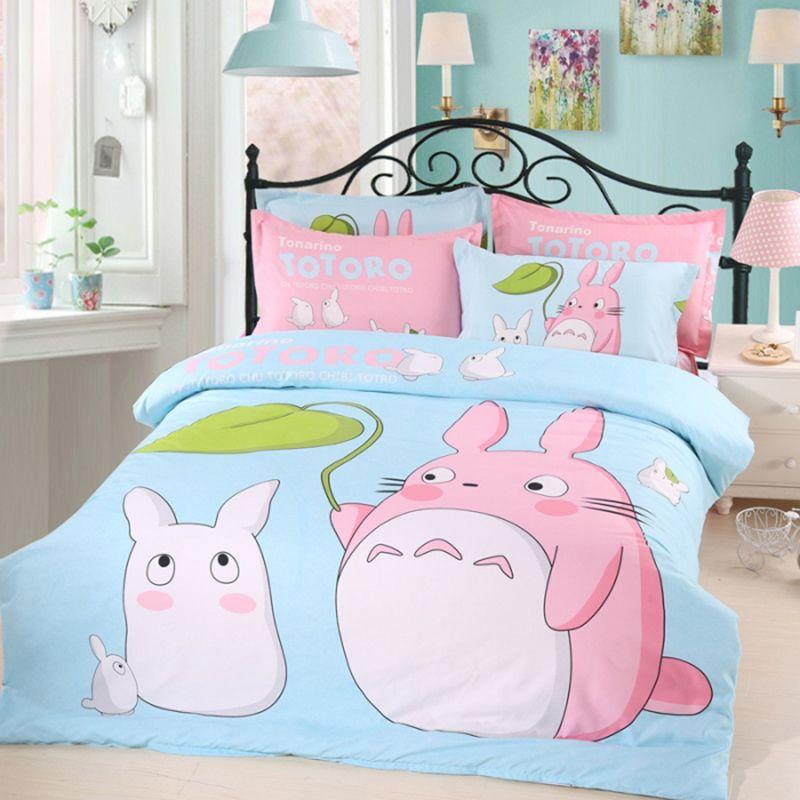 Kids Bedroom Linen my neighbor totoro bedding set pink and sky blue bed linen cartoon