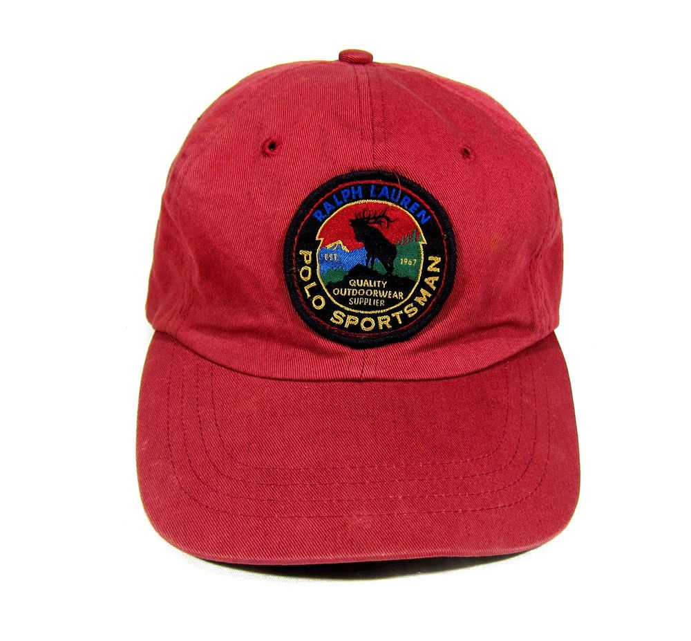 90S VTG POLO SPORT RALPH LAUREN SPORTSMAN PATCH STRAPBACK HAT OG CAP 1992  1993  f115313b2989