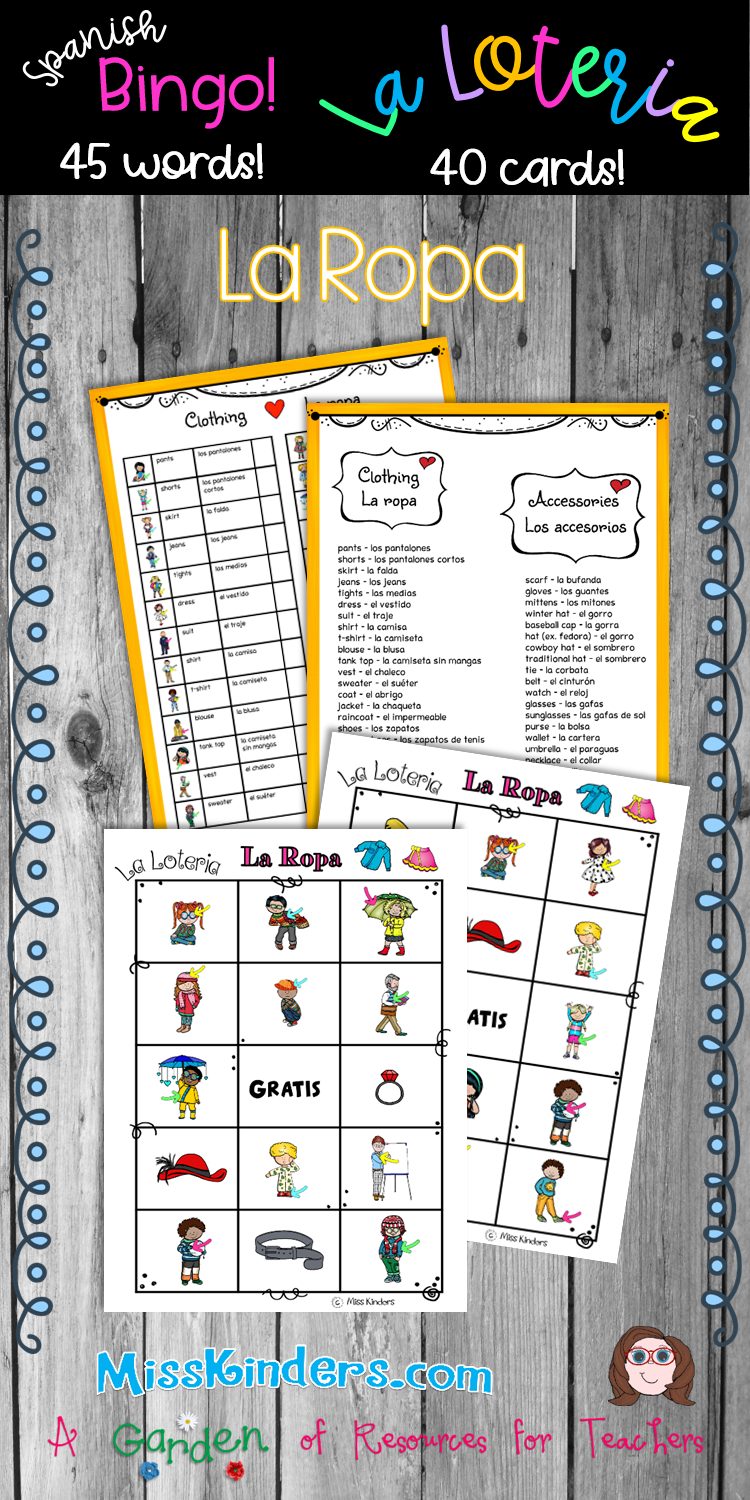 This Bingo Set Includes 45 Clothing And Accessory Words There Are 40 Different Bingo Cards So Yo Teacher Favorite Things Teacher Resources Bilingual Classroom [ 1500 x 750 Pixel ]