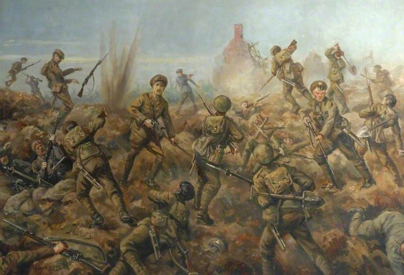 Attack of the 2nd Battalion, Durham Light Infantry, at Hooge, Germany, 9 August 1915 by Gerald Hudson.  Date painted: 1920s