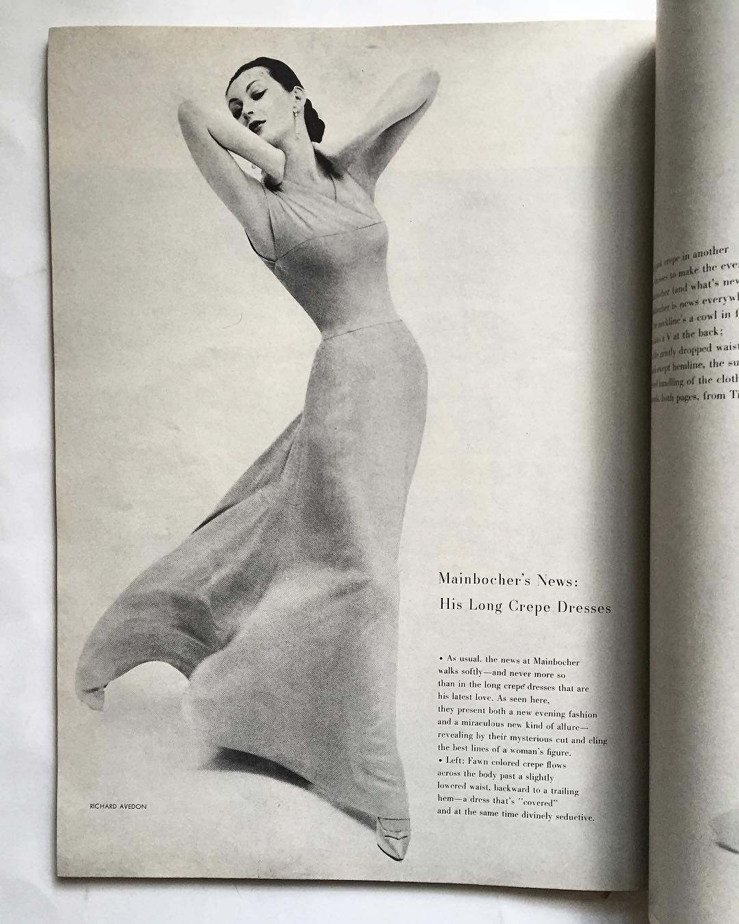 The statuesque silhouette of #Dovima wearing #Mainbocher long crepe dress, by #RichardAvedon - #HarpersBazaar December 1956 from my collection #avedon #bazaar #vintage #vintagebazaar #vintagemagazine #vintagefashion #vintagecouture #fashion #fashionphotography #fashionhistory #dresshistory #dress #fashionresearch #histoiredelamode #chic #style #dianavreeland #carmelsnow #covergirl #beauty #americancouture #couture #fashionphotographer #silhouette #fiftiesfashion @harpersbazaarus @dvdianav...