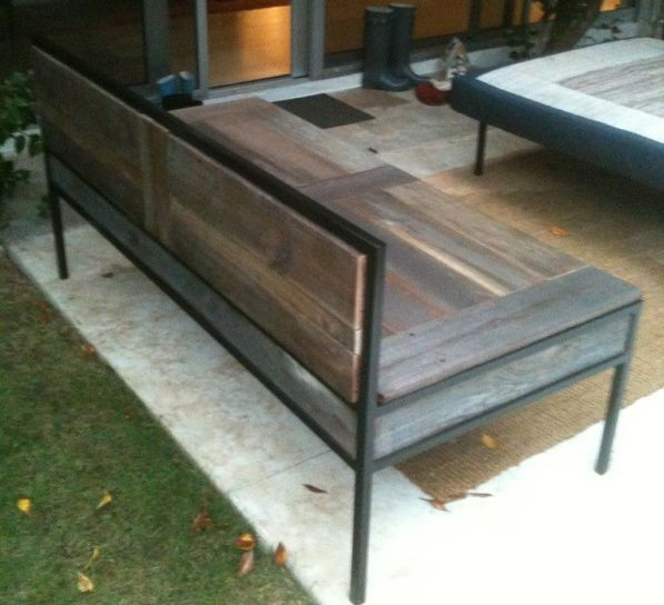 Custom Reclaimed Wood Outdoor Bench Square Tube Steel