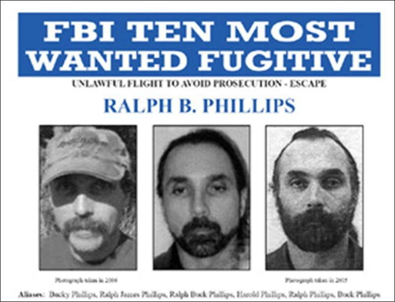 FBI Ten Most Wanted Ralph B Phillips for Unlawful flight to avoid - criminal wanted poster