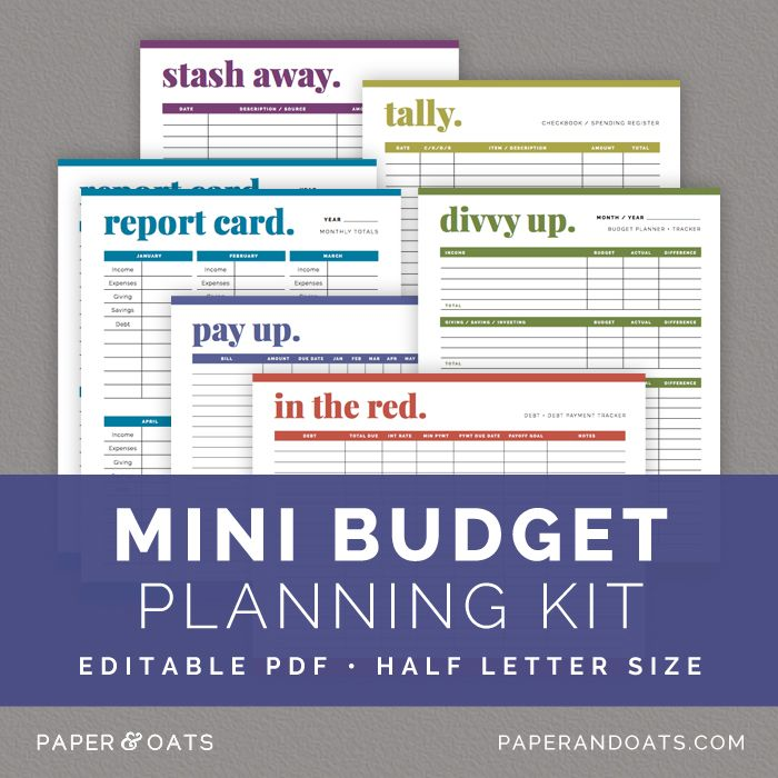 Mini Budget Planning Kit u2014 Paper + Oats u2014 editable, planner - check register in pdf