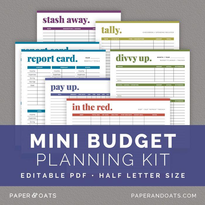 Mini Budget Planning Kit  Paper  Oats  Editable Planner