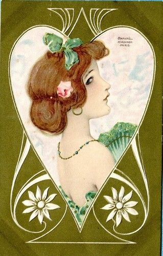 P3180 Raphael Kirchner postcard, Woman with green fan, HM& Co, Embossed, Unused