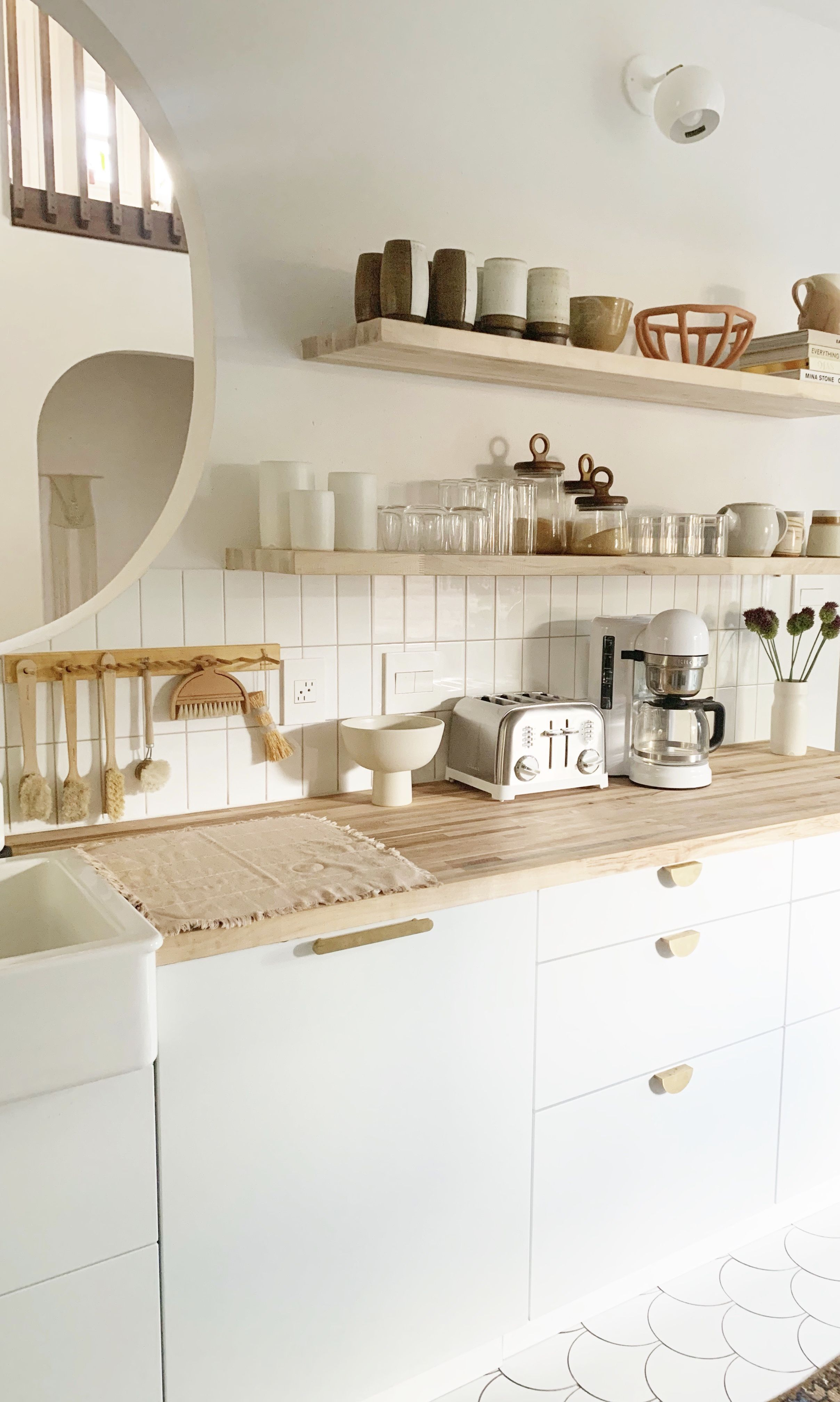 Modern, white kitchen, butcher block counter tops, open