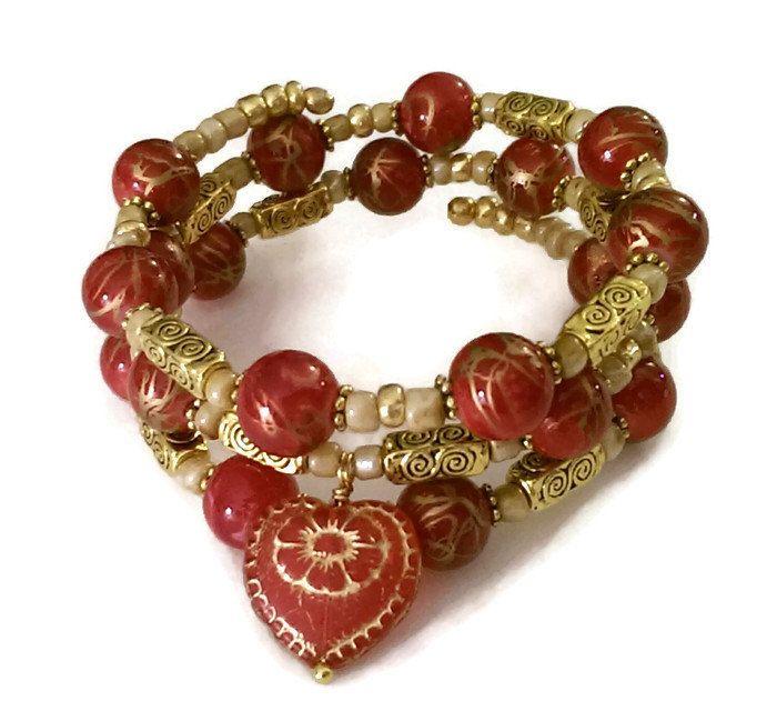 Red Heart Bracelet - Vintage Gold Bracelet - Gold Wrap Bracelet - Gold Red Bracelet - Red and Gold Bracelet - Womens Bracelet - Handmade - pinned by pin4etsy.com