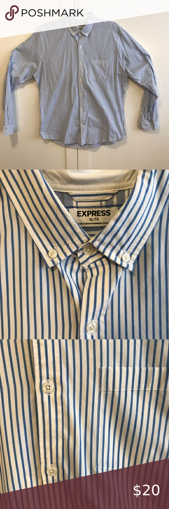Express Men S Button Down Dress Shirt Express Men S Button Down Navy Blue And White Striped Dress Shirt Excell Shirt Dress Mens Shirt Dress Button Down Dress [ 1740 x 580 Pixel ]