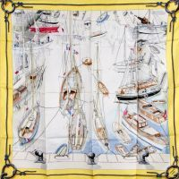 Hermès - Voiliers amarrés, signé Philippe Dauchez