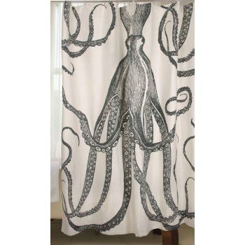 Thomas Paul Octopus Shower Curtain In Charcoal Or Ink Beach