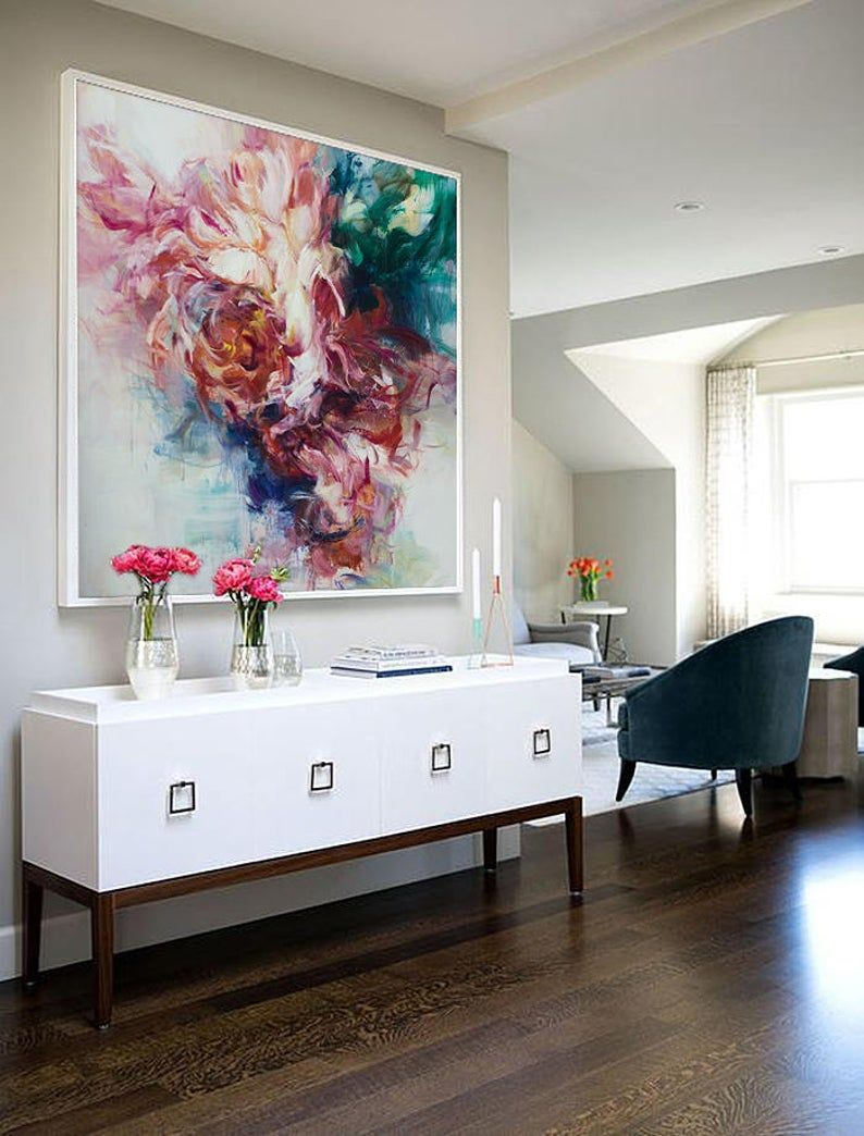 Read the full title Extra große Wandkunst, abstrakte Acryl-Malerei, Original-Gemälde, Ölgemälde, Leinwand Kunst, Gemälde auf Leinwand, rot, rosa Blume Malerei