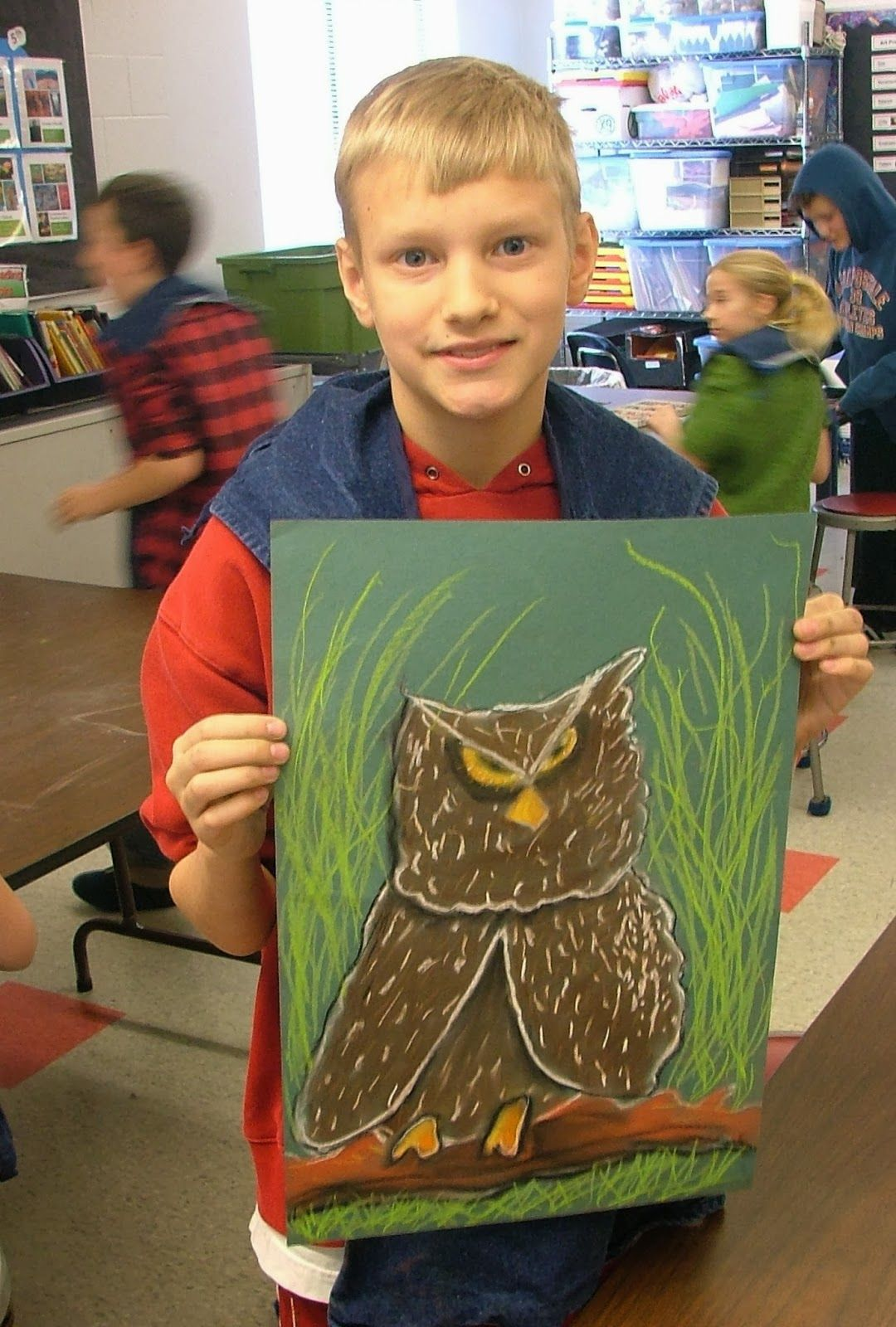 Chalk Owls (Art with Mrs. Seitz) 3rd grade art lesson