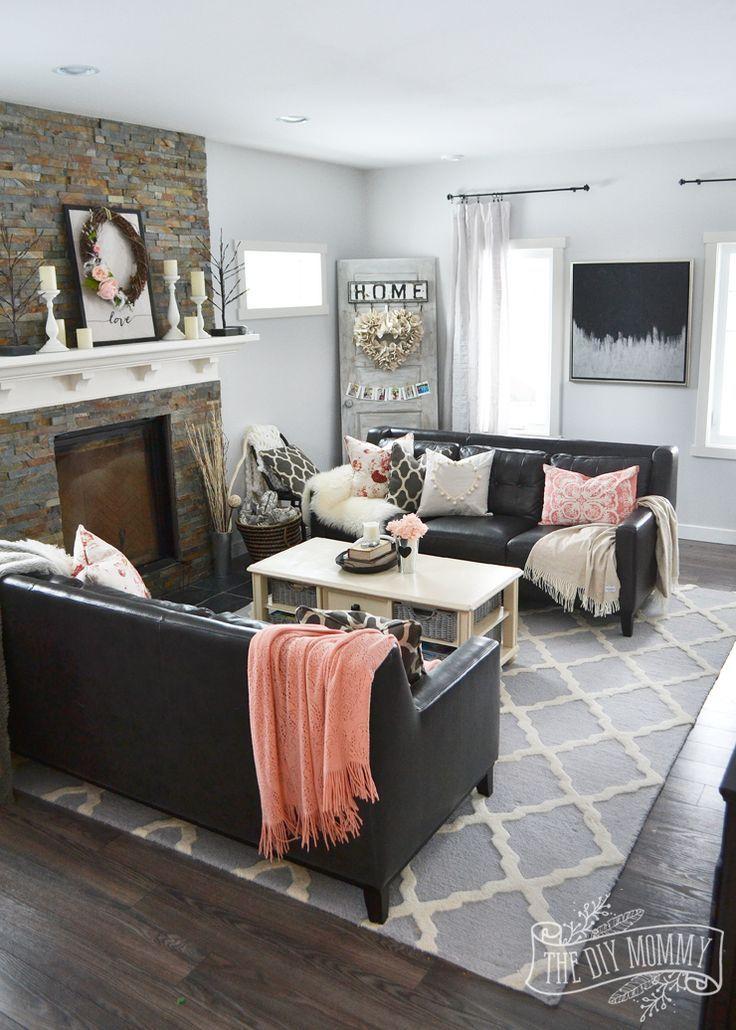 Best A Black Blush Pink Living Room Diy Pom Pom Heart 400 x 300