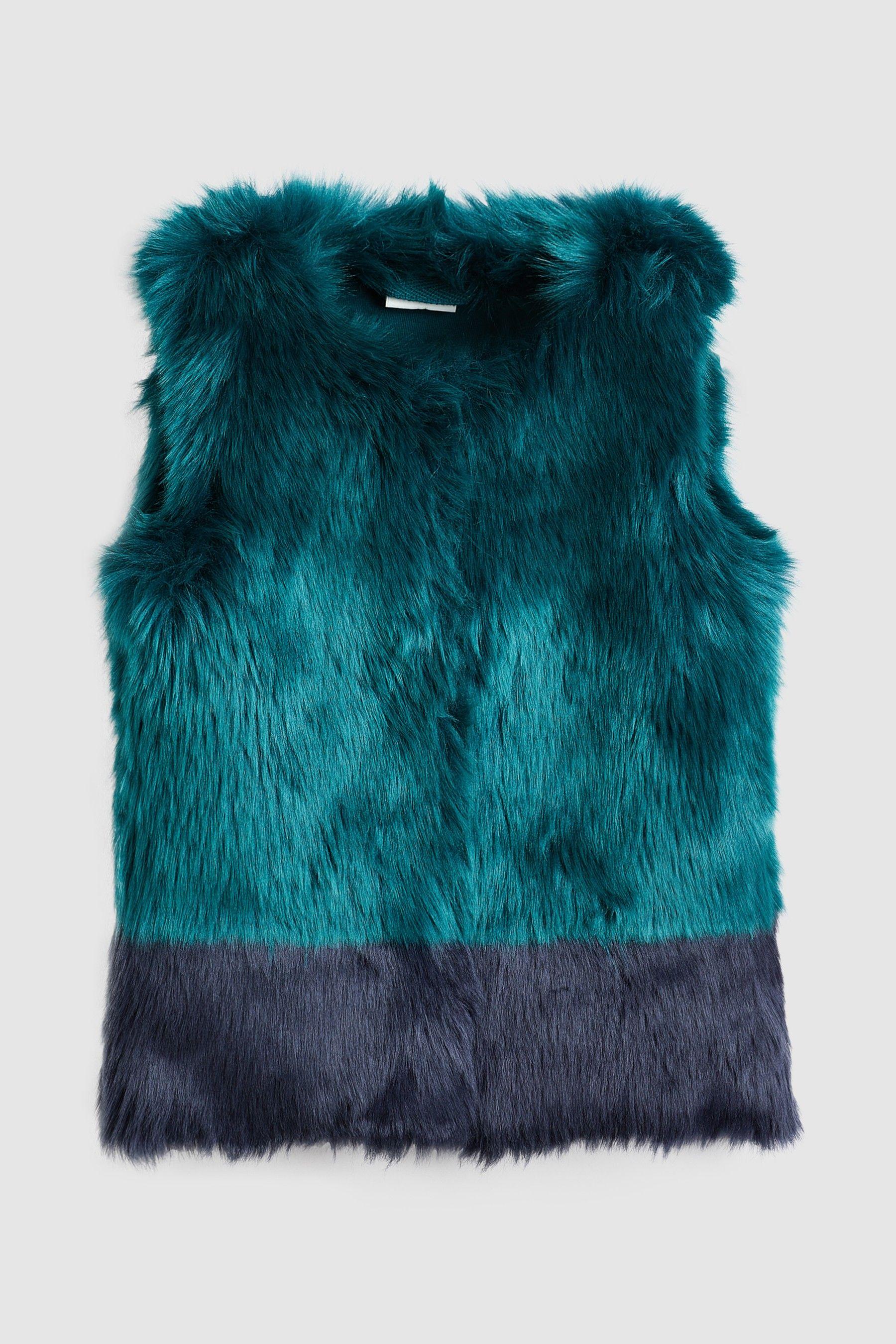 f6ec3c6a Girls Next Teal/Navy Colourblock Faux Fur Gilet (12mths-6yrs) - Blue ...