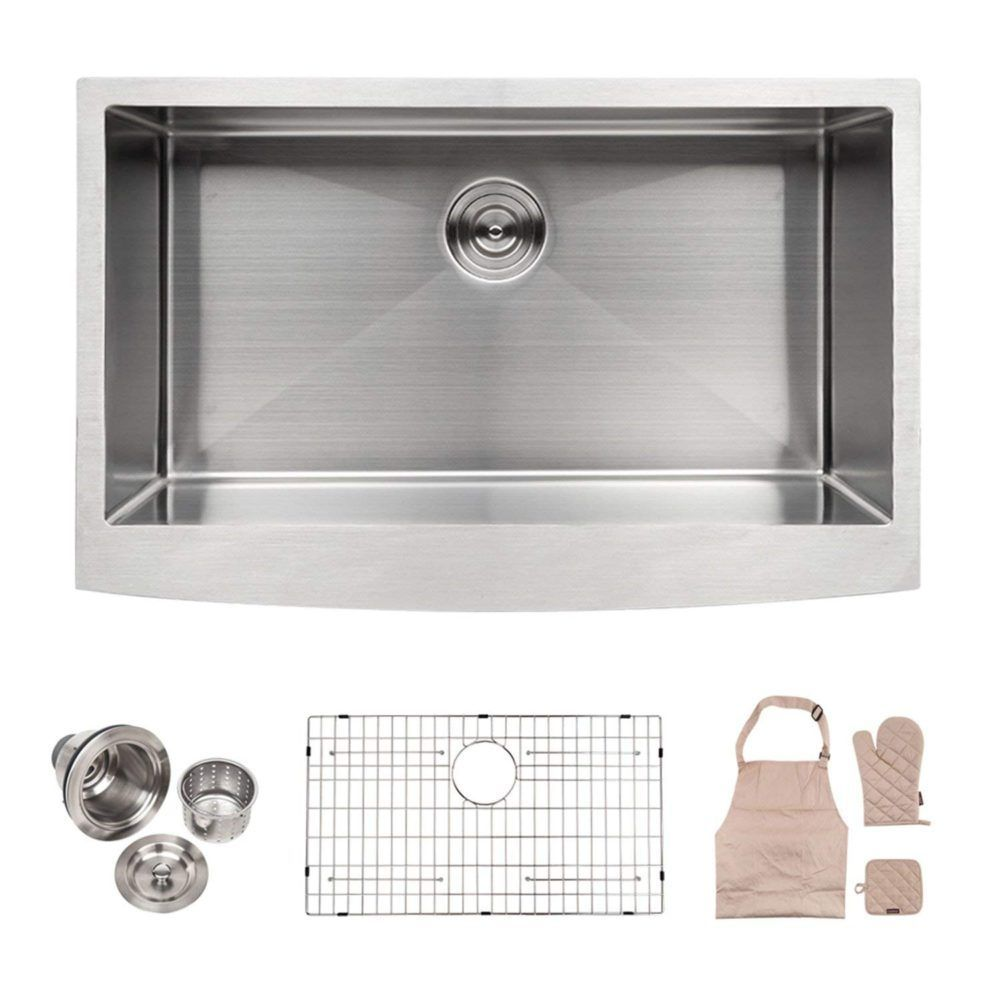 Apron Front 33 Inch Stainless Steel Undermount Kitchen Sink By Lordear Review Farmhouse Sink Kitchen Stainless Steel Farmhouse Sink Apron Front Kitchen Sink