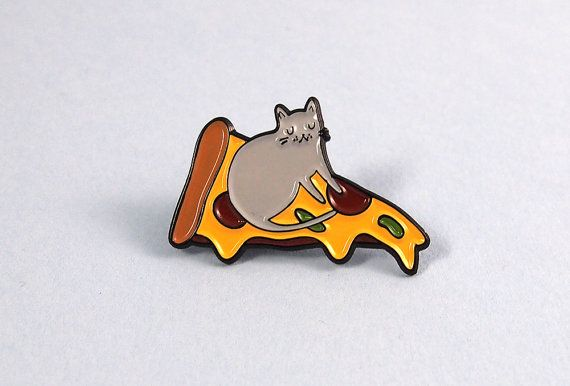 Pizza Cat enamel lapel pin  Cat pin  Enamel pin  by ilikeCATSshop