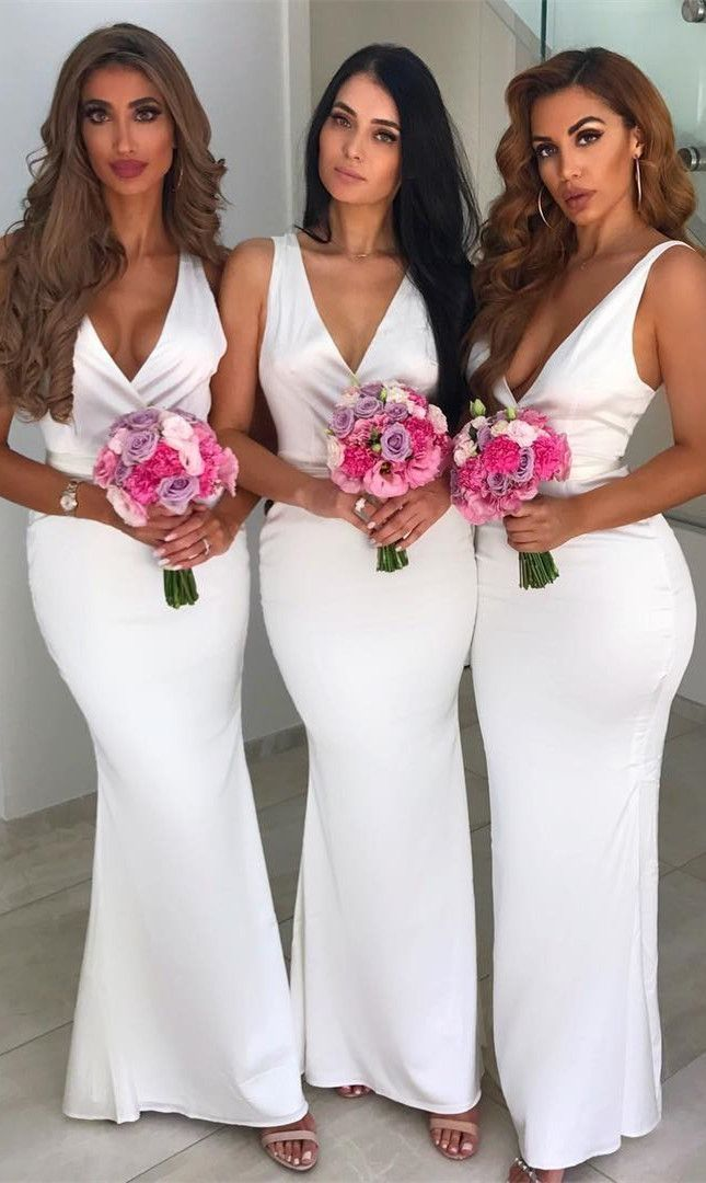 Elegant White Mermaid Bridesmaid Dresses Cheap Long Formal Evening Dresse Cheap Long Bridesmaid Dresses Sleeveless Bridesmaid Dresses Satin Bridesmaid Dresses