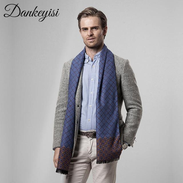 815f1c8c236dc Brand Name: DANKEYISI Department Name: Adult Material: Cotton,Wool Gender: Men  Scarves Length: >175cm Pattern Type: Plaid Style: Fashion Scarves Type:  Scarf ...